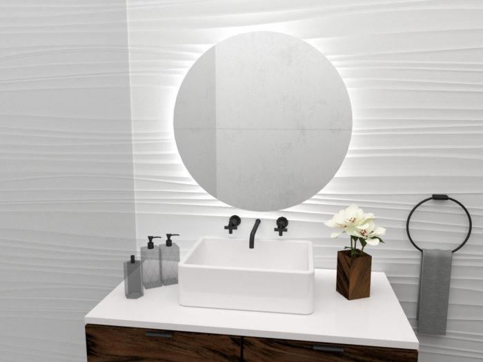 Okrągłe lustro Algardi S z oświetleniem LED
