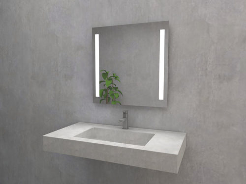 Astolf P square mirror with LED lighting